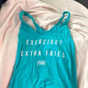 VS Pink turquoise tank top! *size L*